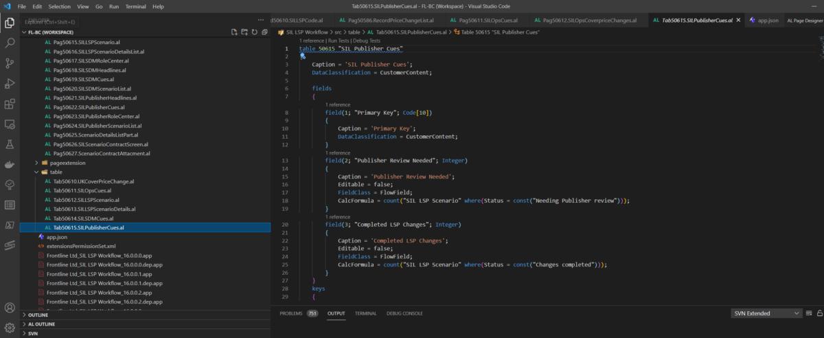Visual Studio Code IDE showing BC AL code